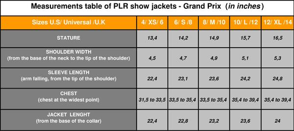 PLR show jackets measurements table