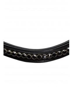 PLR Equitation Dressage Browband Black Crystals
