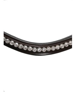 """PLR Brown Leather Browband """"White Crystals"""""""