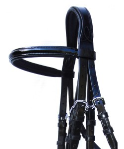 PLR Anatomic Double Bridle - Black English Leather with Patent