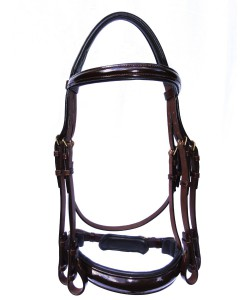 PLR Anatomic Double Bridle - Brown English Leather with Patent