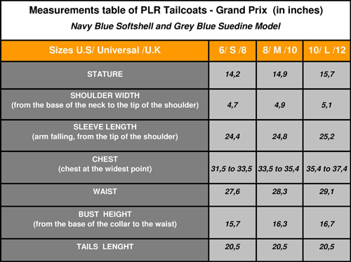 Measurements table of PLR Tailcoats - Grand Prix  (in inches)