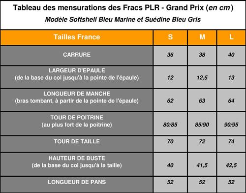 Tableau des mensurations des Fracs PLR - Grand Prix (en cm)